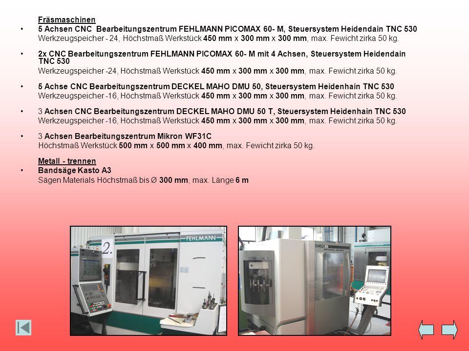 Fräsmaschinen 5 Achsen CNC Bearbeitungszentrum FEHLMANN PICOMAX 60- M, Steuersystem Heidendain TNC 530 Werkzeugspeicher - 24, Höchstmaß Werkstück 450