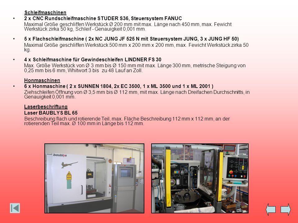 Schleifmaschinen 2 x CNC Rundschleifmaschine STUDER S36, Steuersystem FANUC Maximal Größe geschliffen Werkstück Ø 200 mm mit max. Länge nach 450 mm, m