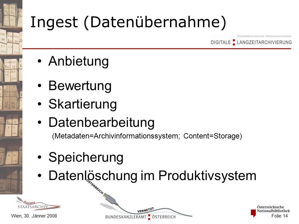 Wien, 30. Jänner 2008 Folie 14 Anbietung Bewertung Skartierung Datenbearbeitung (Metadaten=Archivinformationssystem; Content=Storage) Speicherung Date