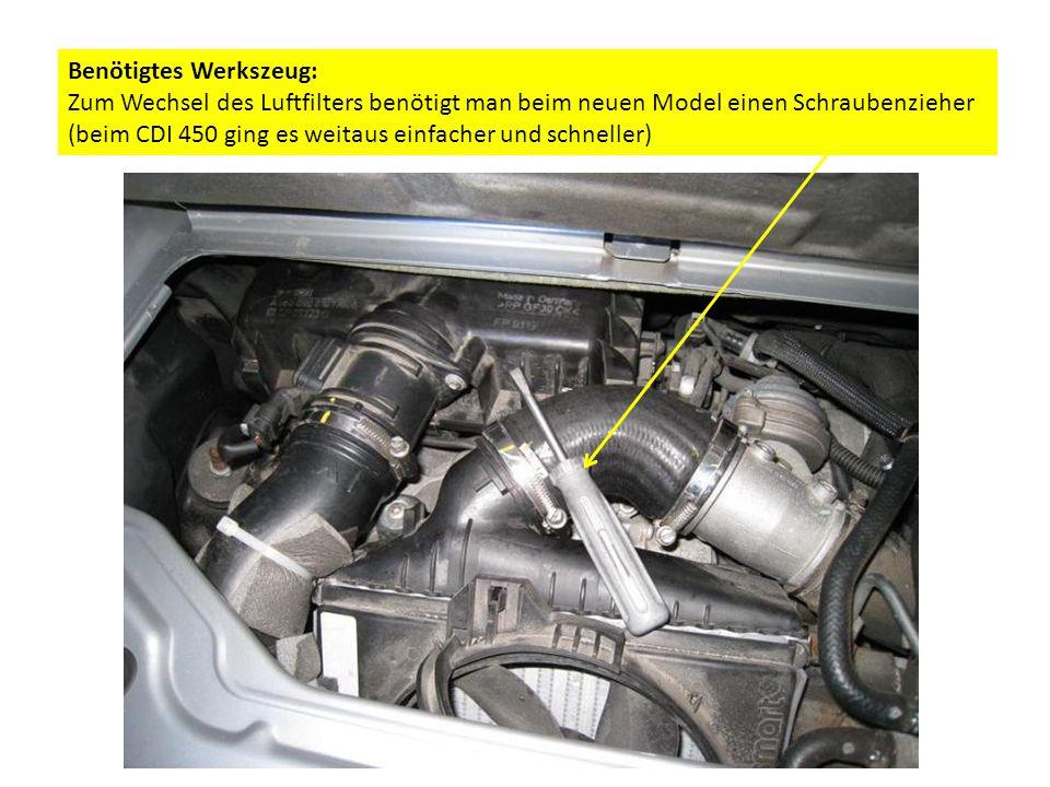 Benötigtes Werkszeug: Zum Wechsel des Luftfilters benötigt man beim neuen Model einen Schraubenzieher (beim CDI 450 ging es weitaus einfacher und schneller)