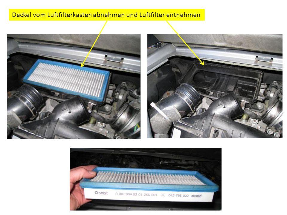 Deckel vom Luftfilterkasten abnehmen und Luftfilter entnehmen