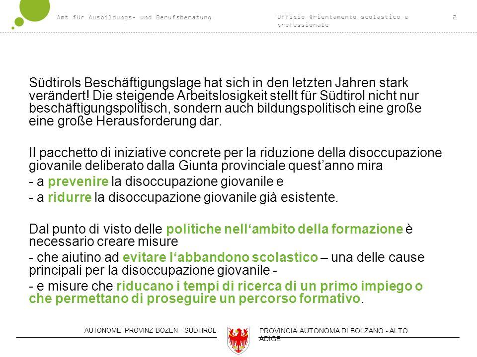 Amt für Ausbildungs- und Berufsberatung2 AUTONOME PROVINZ BOZEN - SÜDTIROL PROVINCIA AUTONOMA DI BOLZANO - ALTO ADIGE Südtirols Beschäftigungslage hat sich in den letzten Jahren stark verändert.