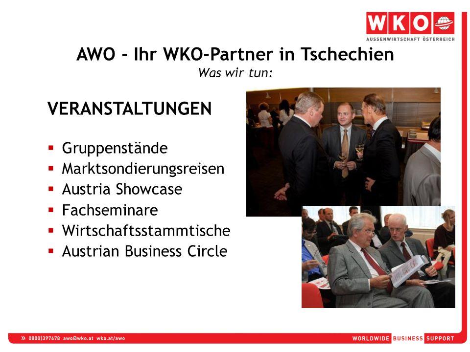 VERANSTALTUNGEN  Gruppenstände  Marktsondierungsreisen  Austria Showcase  Fachseminare  Wirtschaftsstammtische  Austrian Business Circle AWO - Ihr WKO-Partner in Tschechien Was wir tun: