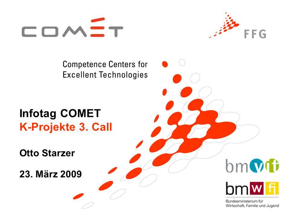 Infotag COMET K-Projekte 3. Call Otto Starzer 23. März 2009