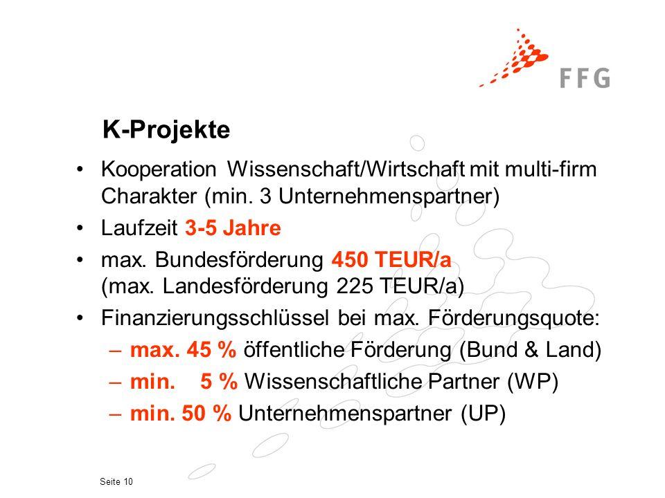 Seite 10 K-Projekte Kooperation Wissenschaft/Wirtschaft mit multi-firm Charakter (min.