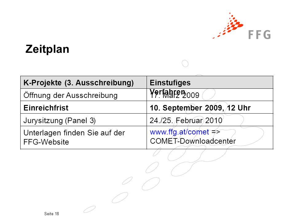Seite 18 Zeitplan K-Projekte (3. Ausschreibung) Einstufiges Verfahren Öffnung der Ausschreibung 17.