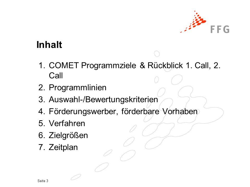 Seite 3 Inhalt 1.COMET Programmziele & Rückblick 1.