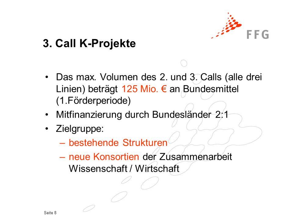 Seite 8 3. Call K-Projekte Das max. Volumen des 2.