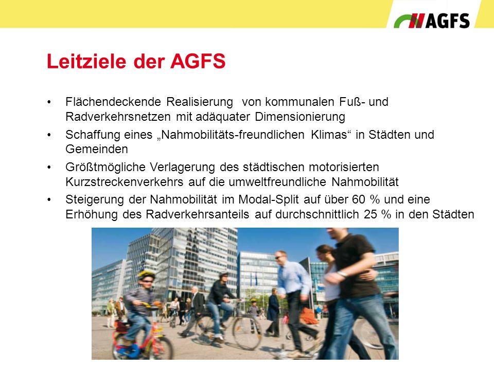 """Leitziele der AGFS Flächendeckende Realisierung von kommunalen Fuß- und Radverkehrsnetzen mit adäquater Dimensionierung Schaffung eines """"Nahmobilitäts"""