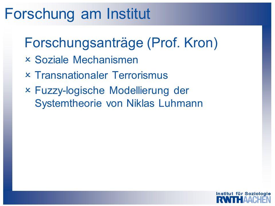 Forschung am Institut Forschungsanträge (Prof.