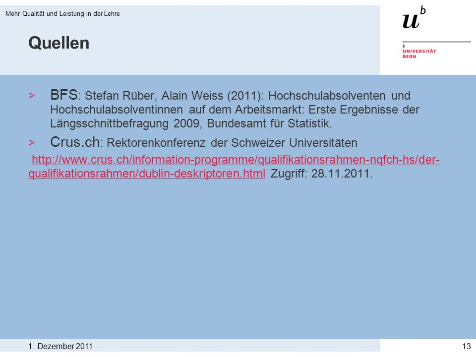Quellen > BFS : Stefan Rüber, Alain Weiss (2011): Hochschulabsolventen und Hochschulabsolventinnen auf dem Arbeitsmarkt: Erste Ergebnisse der Längsschnittbefragung 2009, Bundesamt für Statistik.
