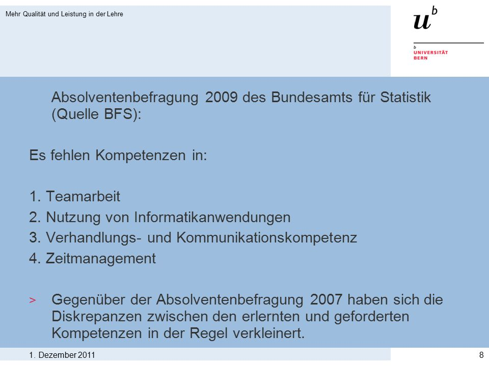 Absolventenbefragung 2009 des Bundesamts für Statistik (Quelle BFS): Es fehlen Kompetenzen in: 1. Teamarbeit 2. Nutzung von Informatikanwendungen 3. V
