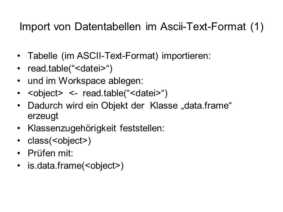 """Import von Datentabellen im Ascii-Text-Format (1) Tabelle (im ASCII-Text-Format) importieren: read.table( ) und im Workspace ablegen: ) Dadurch wird ein Objekt der Klasse """"data.frame erzeugt Klassenzugehörigkeit feststellen: class( ) Prüfen mit: is.data.frame( )"""