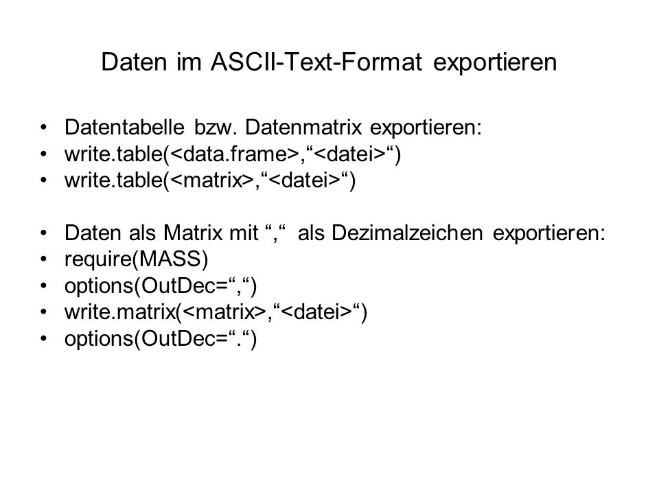Daten im ASCII-Text-Format exportieren Datentabelle bzw.