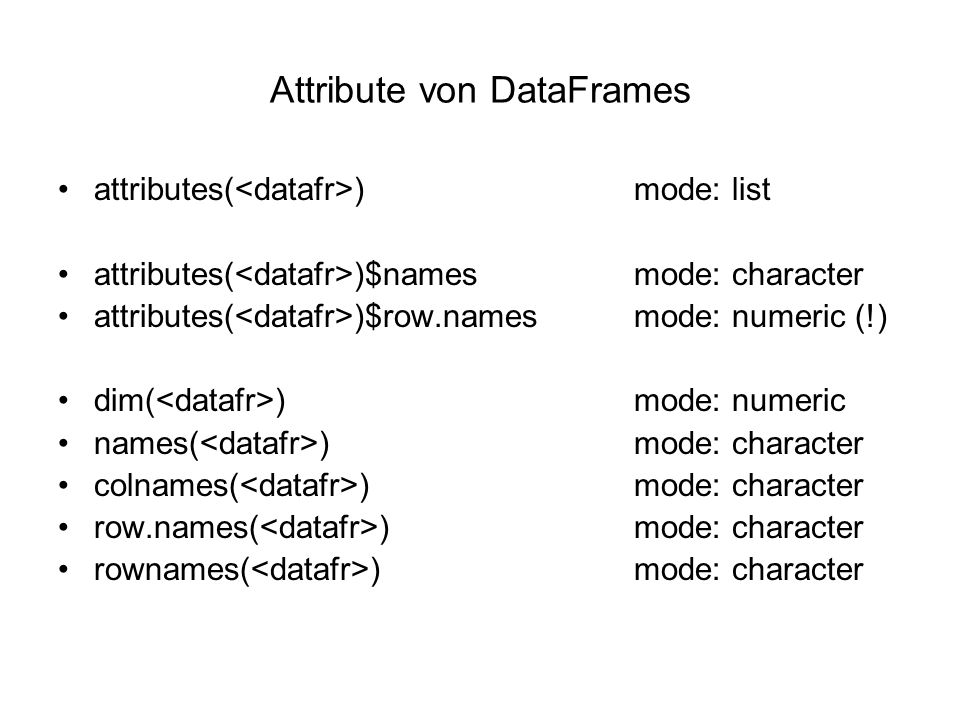 Attribute von DataFrames attributes( )mode: list attributes( )$namesmode: character attributes( )$row.namesmode: numeric (!) dim( )mode: numeric names( )mode: character colnames( )mode: character row.names( )mode: character rownames( )mode: character