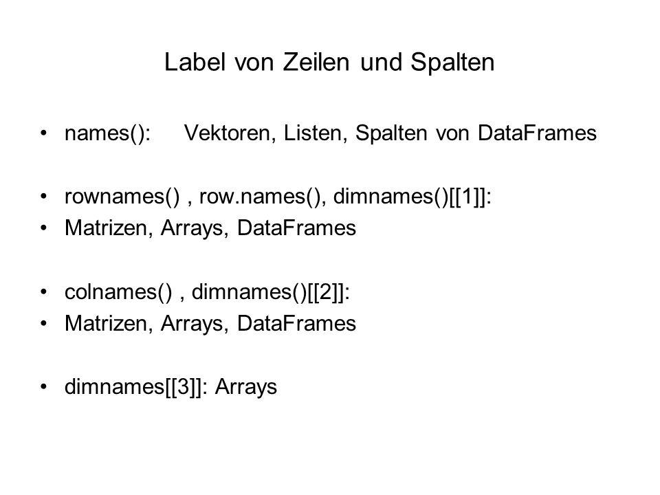 Label von Zeilen und Spalten names(): Vektoren, Listen, Spalten von DataFrames rownames(), row.names(), dimnames()[[1]]: Matrizen, Arrays, DataFrames colnames(), dimnames()[[2]]: Matrizen, Arrays, DataFrames dimnames[[3]]: Arrays colnames() Matrizen, Arrays, DataFrames dimnames()[[2]]