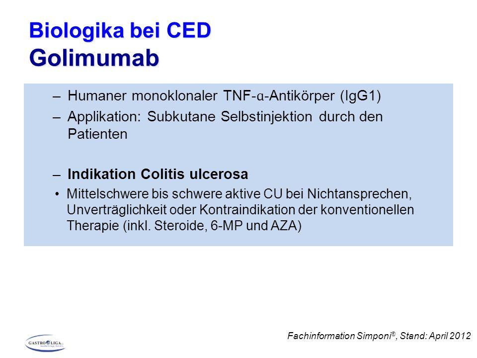 Biologika bei CED Vedolizumab –Humaner monokaler gegen α4β7-Integrin gerichteter Antikörper, damit Darm-selektiv –Applikation: Infusion –Indikation: Colitis ulcerosa, M.