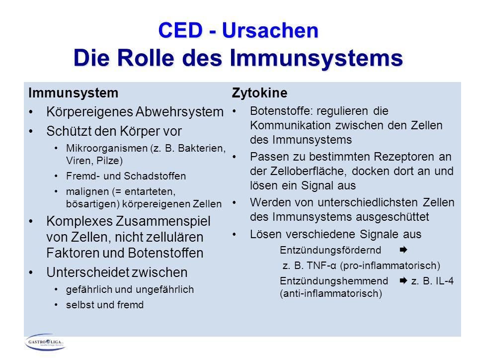 CED – Ursachen Die Rolle des Immunsystems Entzündung Zeichen der Immunreaktion Reaktion des Körpers auf eine Schädigung oder eindringende Erreger Entzündungsreaktion Aktivierung aller beteiligten Zellen und Substanzen des Immunsystems am Infektionsort Aufrechterhaltung des Entzündungsprozesses, bis Schädigung behoben bzw.