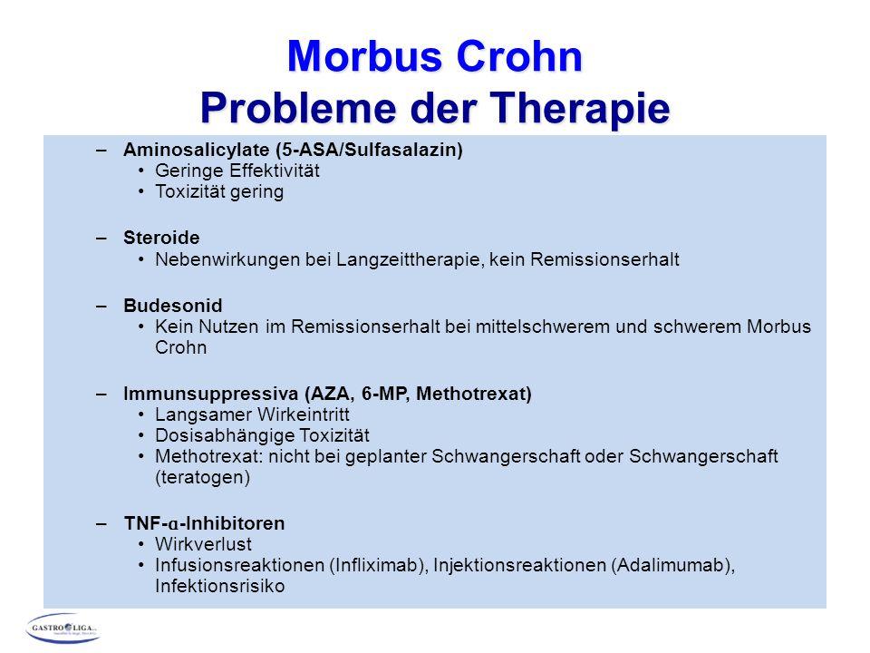) Morbus Crohn Schub mit leichter bis mittlerer Aktivität – ileocoecaler Befall - Remissionsinduktion 5-ASA oder Budesonid 3 – 4 g/Tag 9 mg/Tag Therapieerfolg Kein Ansprechen nach 10 - 14 Tagen Kein Ansprechen nach 10 - 14 Tagen Azathioprin 2 – 3 mg/kg KG/Tag Prednisolon 50 – 60 mg/Tag Therapieerfolg Evtl.