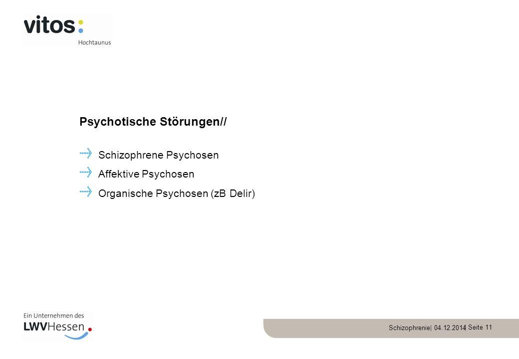 Schizophrenie| 04.12.2014 | Seite 11 Schizophrene Psychosen Affektive Psychosen Organische Psychosen (zB Delir) Psychotische Störungen//