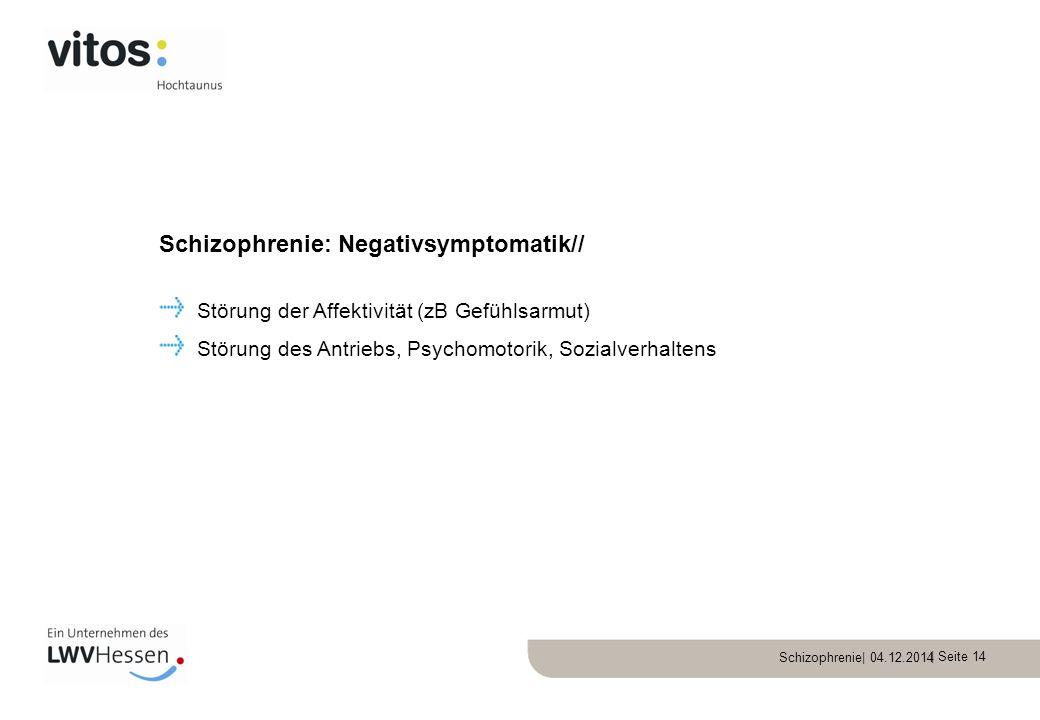 Schizophrenie| 04.12.2014 | Seite 14 Störung der Affektivität (zB Gefühlsarmut) Störung des Antriebs, Psychomotorik, Sozialverhaltens Schizophrenie: N