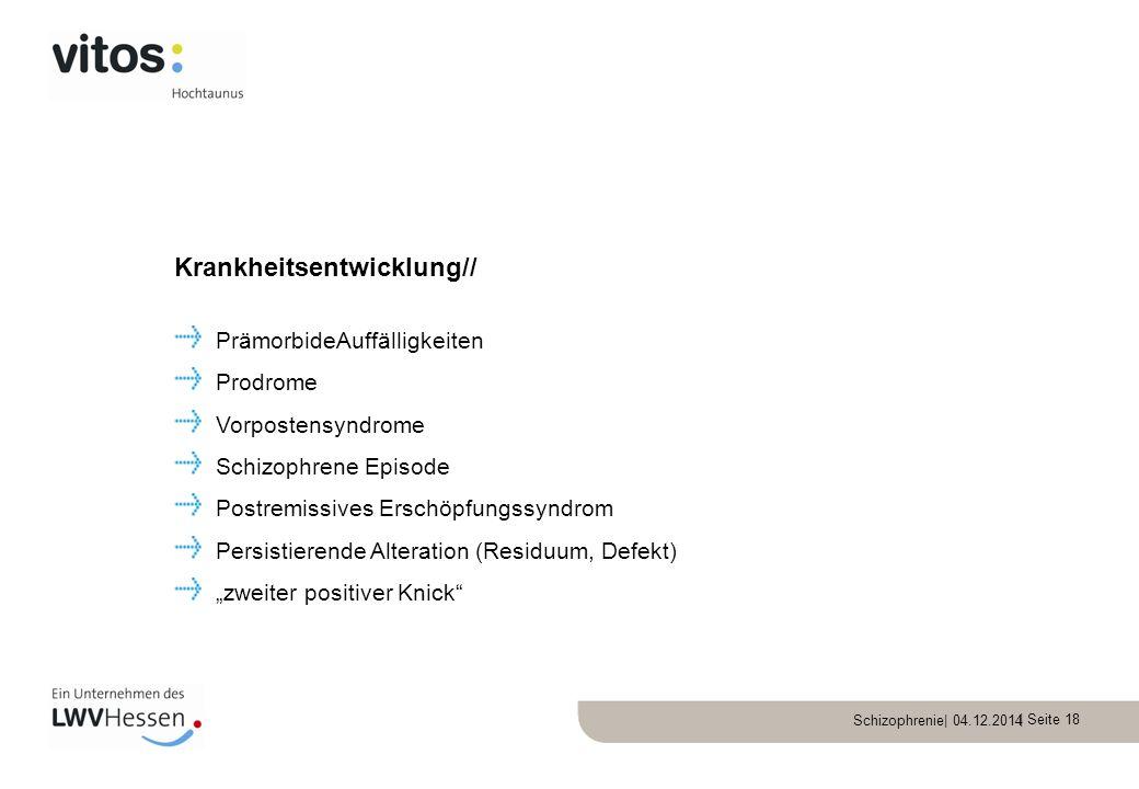 Schizophrenie| 04.12.2014 | Seite 18 PrämorbideAuffälligkeiten Prodrome Vorpostensyndrome Schizophrene Episode Postremissives Erschöpfungssyndrom Pers