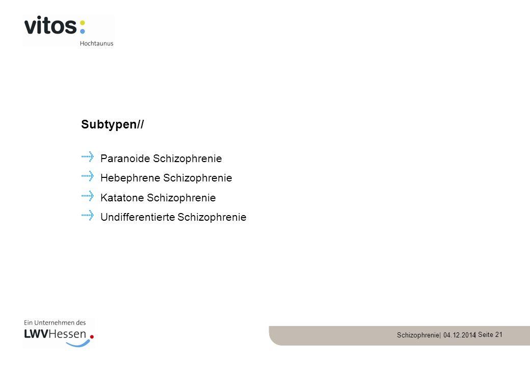 | Seite 21 Paranoide Schizophrenie Hebephrene Schizophrenie Katatone Schizophrenie Undifferentierte Schizophrenie Subtypen//