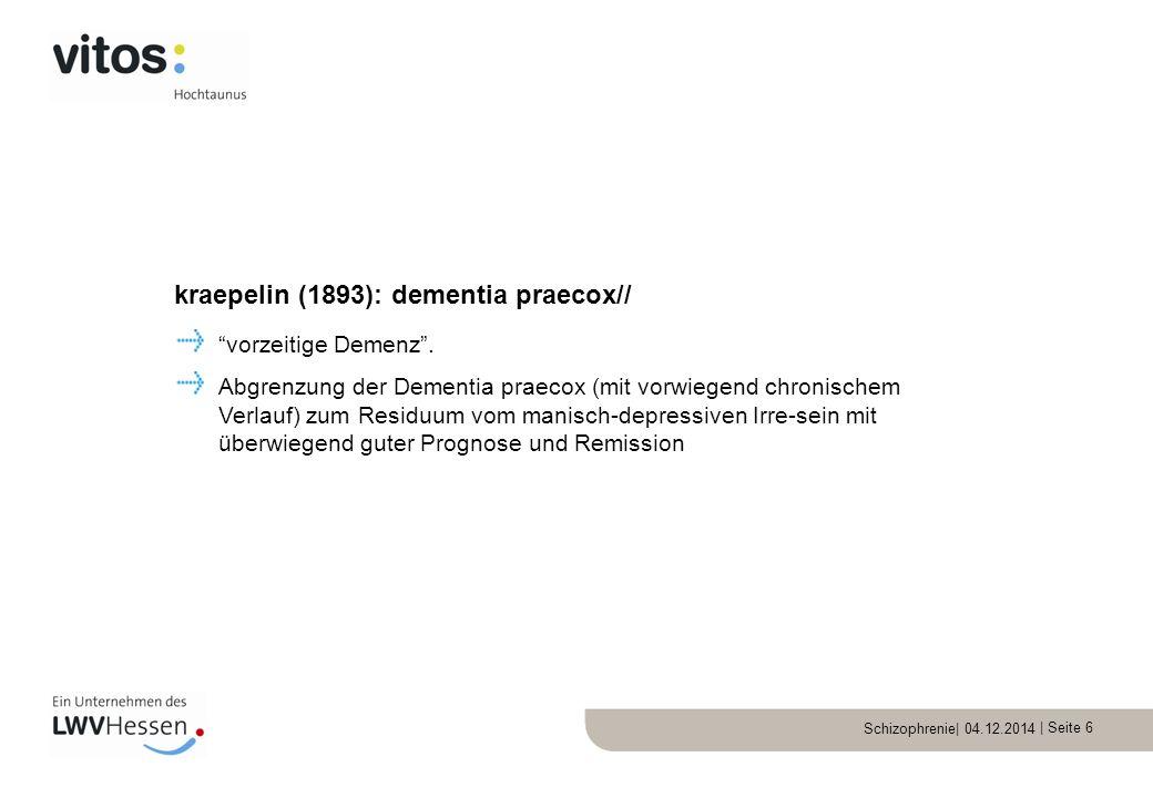 Schizophrenie| 04.12.2014 | Seite 7 Grundsymptome Assoziative Auflockerung des Denkens Affektive Störung Autismus Ambivalenz der Gefühle Akzessorische Symptome Halluzinationen Wahn katatonie Bleuler (1911): Schizophrenie//