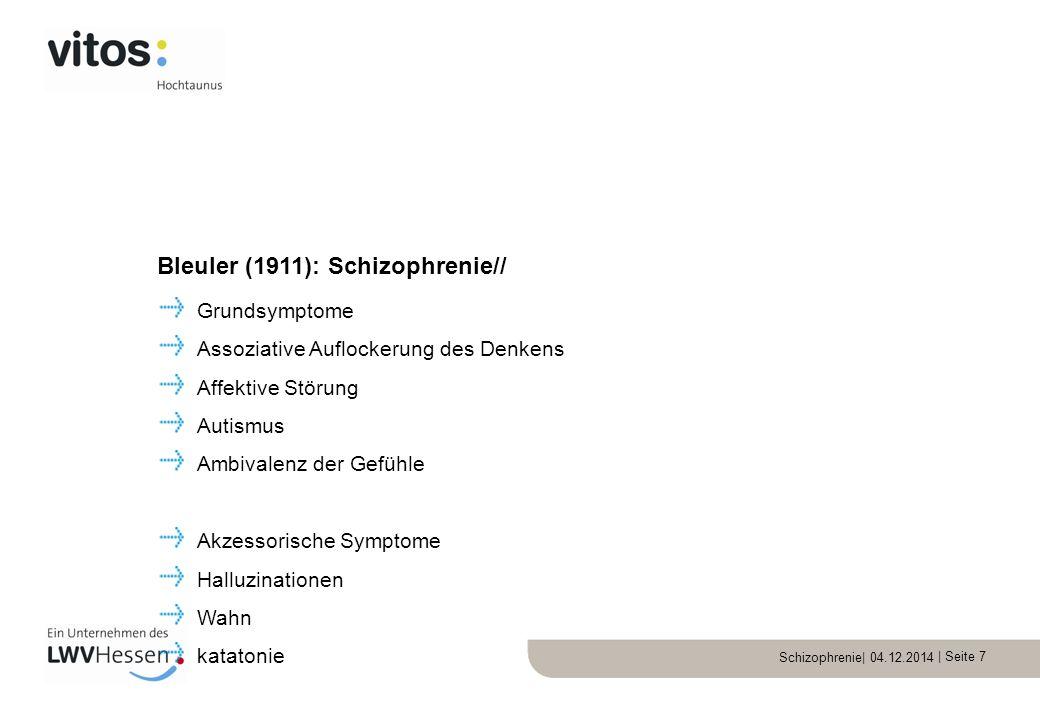 Schizophrenie| 04.12.2014 | Seite 7 Grundsymptome Assoziative Auflockerung des Denkens Affektive Störung Autismus Ambivalenz der Gefühle Akzessorische