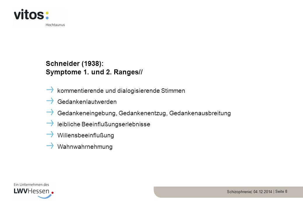Schizophrenie| 04.12.2014 | Seite 19 1/3 gute Remission – psychopathologisch und sozial geringe Restsymptome 1/3 mäßiggradige Residualbildung 1/3 schwere Endzustände – auf Versorgung angewiesen Verlaufsformen / Prognose//