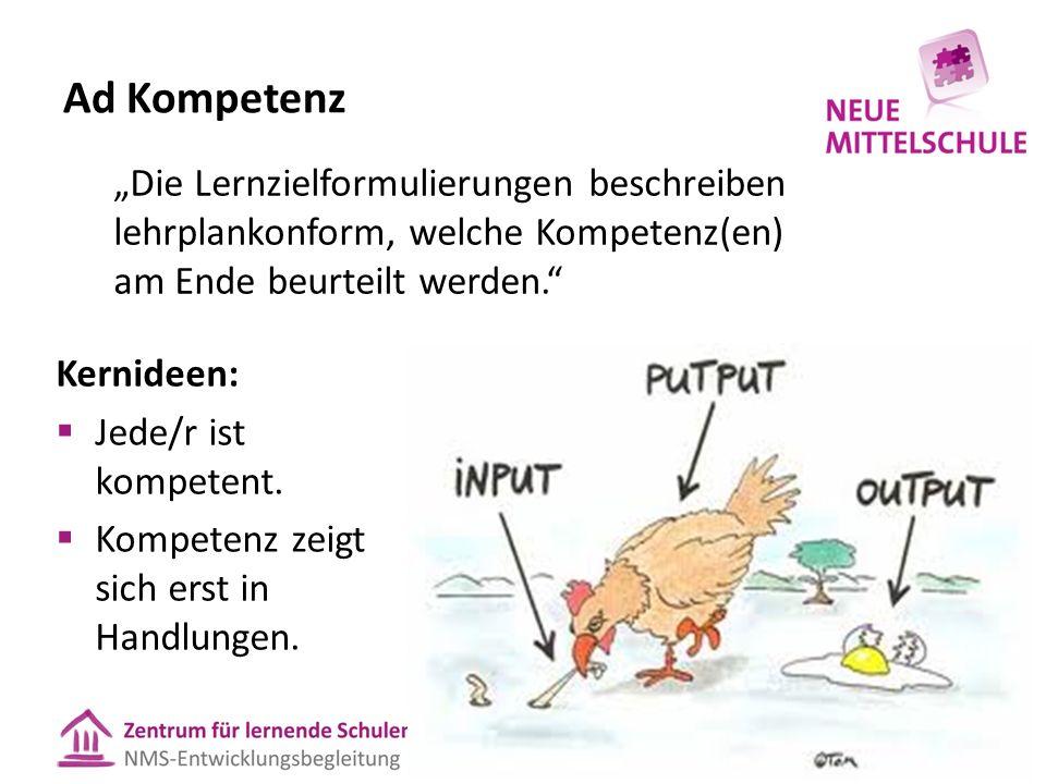 Ad Kompetenz Kernideen:  Jede/r ist kompetent.  Kompetenz zeigt sich erst in Handlungen.