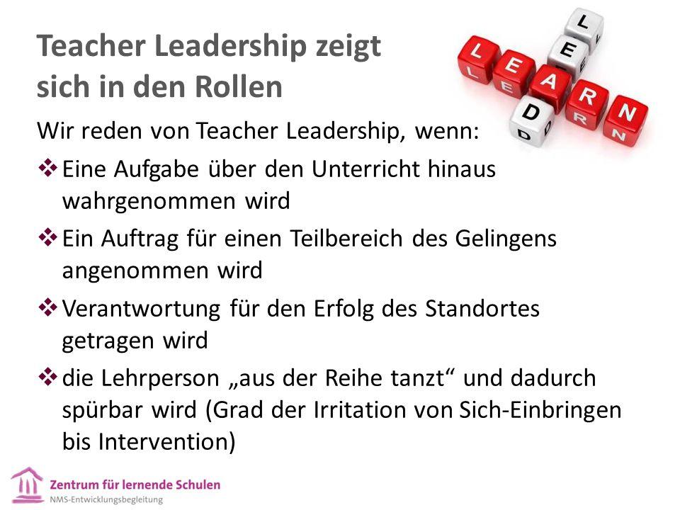 Wir reden von Teacher Leadership, wenn:  Eine Aufgabe über den Unterricht hinaus wahrgenommen wird  Ein Auftrag für einen Teilbereich des Gelingens