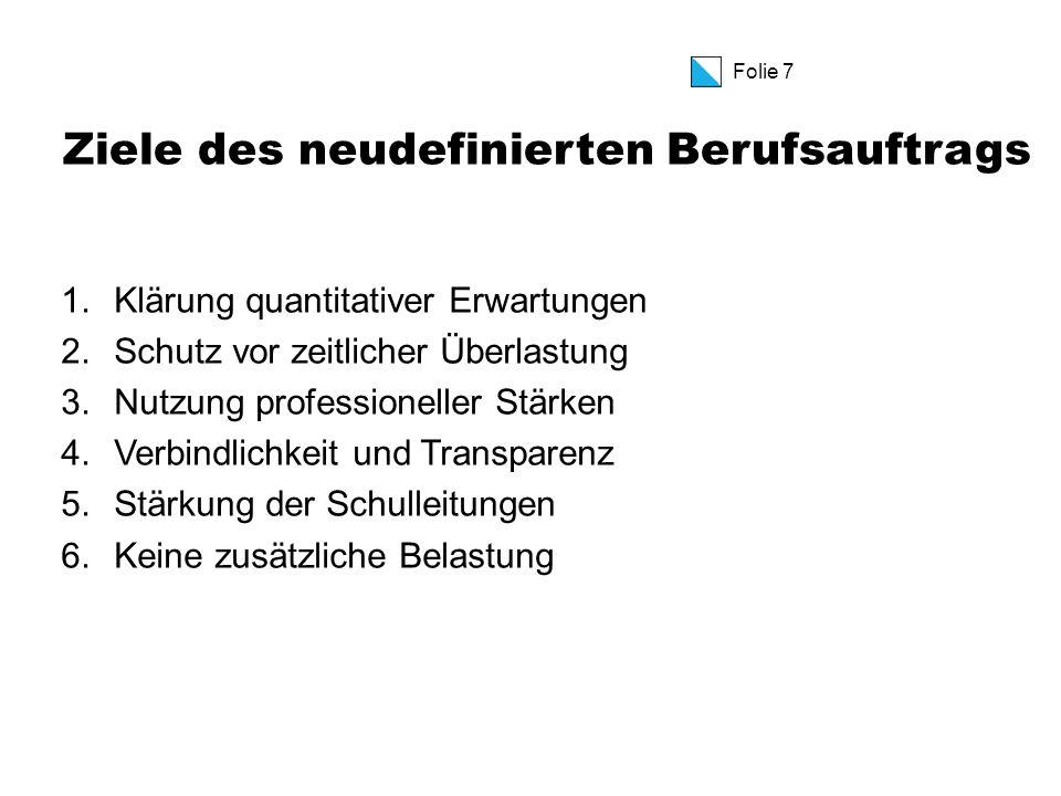 Folie 8 Neues Arbeitszeitmodell Der neu definierte Berufsauftrag ist in erster Linie ein neues Arbeitszeitmodell
