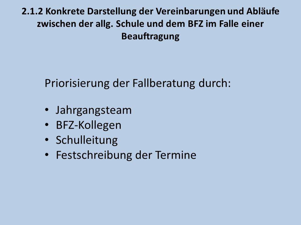 2.1.2 Konkrete Darstellung der Vereinbarungen und Abläufe zwischen der allg. Schule und dem BFZ im Falle einer Beauftragung Priorisierung der Fallbera