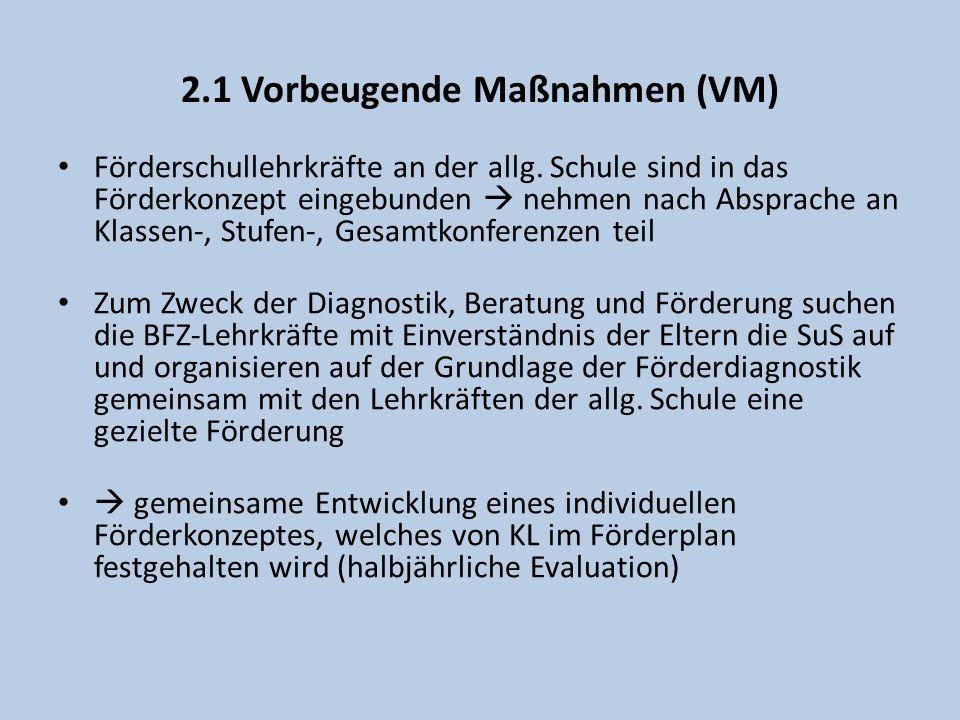 2.1 Vorbeugende Maßnahmen (VM) Aufgaben der BFZ-Lehrkraft BeratungLehrkräfte, Eltern, Schulleitung, Schüler/innen, Kooperationspartner Förderung z.B.