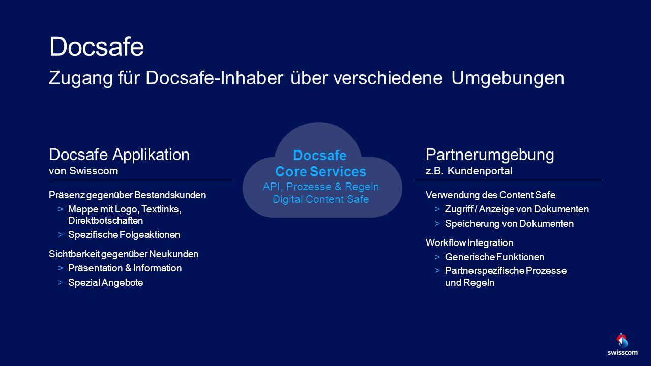 Docsafe Zugang für Docsafe-Inhaber über verschiedene Umgebungen Docsafe Applikation von Swisscom Präsenz gegenüber Bestandskunden >Mappe mit Logo, Textlinks, Direktbotschaften >Spezifische Folgeaktionen Sichtbarkeit gegenüber Neukunden >Präsentation & Information >Spezial Angebote Partnerumgebung z.B.