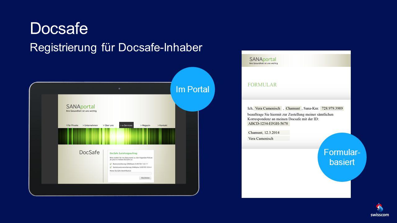 Docsafe Registrierung für Docsafe-Inhaber SCREENSHOT Im Portal Formular- basiert
