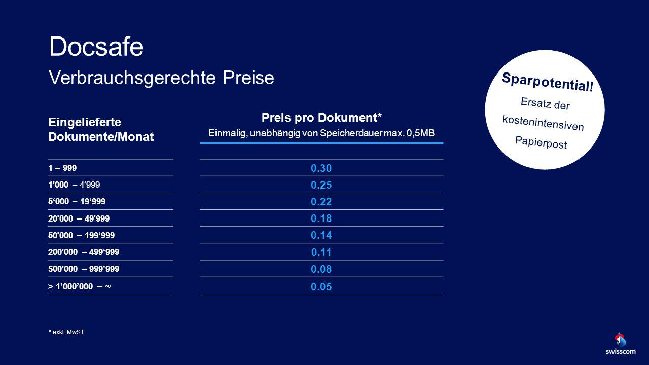 Verbrauchsgerechte Preise Eingelieferte Dokumente/Monat Preis pro Dokument* Einmalig, unabhängig von Speicherdauer max.