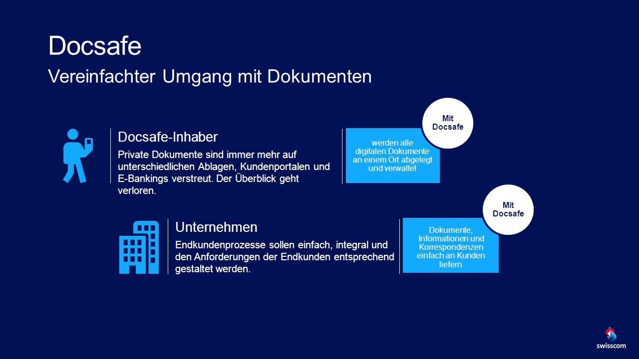 Docsafe Vereinfachter Umgang mit Dokumenten Docsafe-Inhaber Private Dokumente sind immer mehr auf unterschiedlichen Ablagen, Kundenportalen und E-Bankings verstreut.