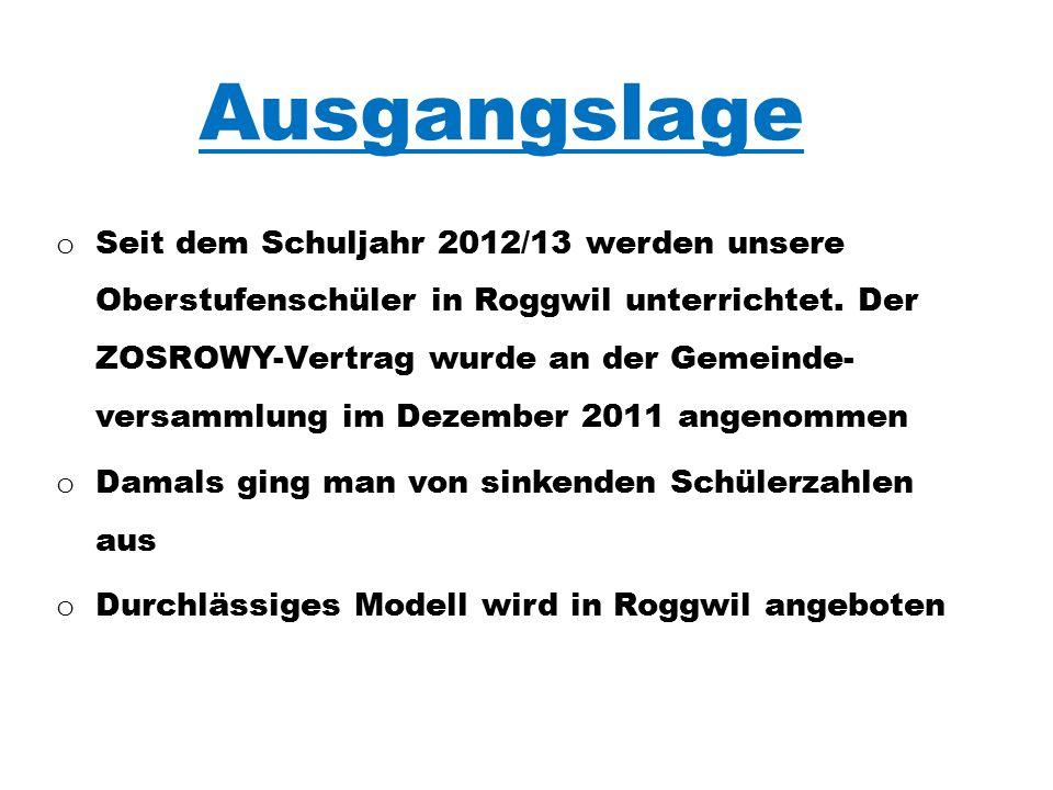 Ausgangslage o Seit dem Schuljahr 2012/13 werden unsere Oberstufenschüler in Roggwil unterrichtet.