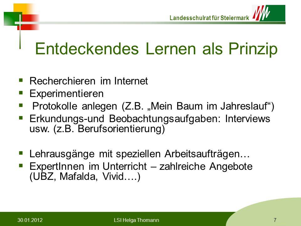 Landesschulrat für Steiermark Formatvorlage © Rene Patak Entdeckendes Lernen als Prinzip  Recherchieren im Internet  Experimentieren  Protokolle anlegen (Z.B.
