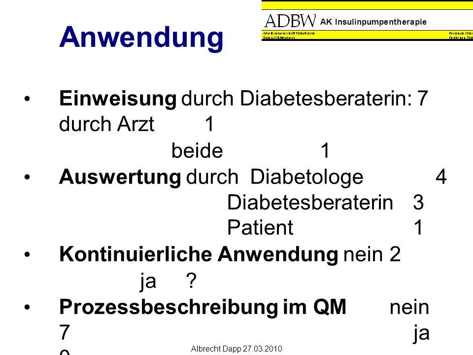 AK Insulinpumpentherapie Albrecht Dapp 27.03.2010 Anwendung Einweisung durch Diabetesberaterin: 7 durch Arzt1 beide1 Auswertung durchDiabetologe4 Diabetesberaterin3 Patient1 Kontinuierliche Anwendungnein 2 ja .
