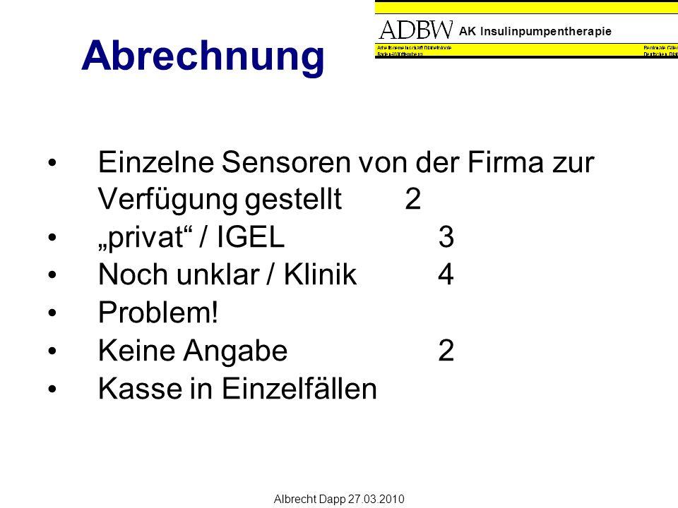 """AK Insulinpumpentherapie Albrecht Dapp 27.03.2010 Abrechnung Einzelne Sensoren von der Firma zur Verfügung gestellt2 """"privat / IGEL 3 Noch unklar / Klinik4 Problem."""
