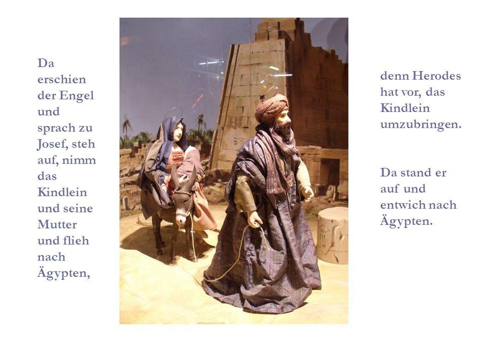 Da erschien der Engel und sprach zu Josef, steh auf, nimm das Kindlein und seine Mutter und flieh nach Ägypten, denn Herodes hat vor, das Kindlein umzubringen.