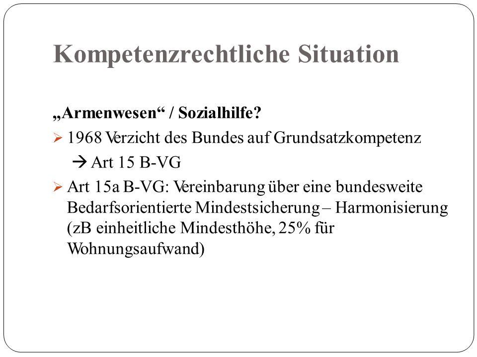 """Kompetenzrechtliche Situation """"Armenwesen / Sozialhilfe."""