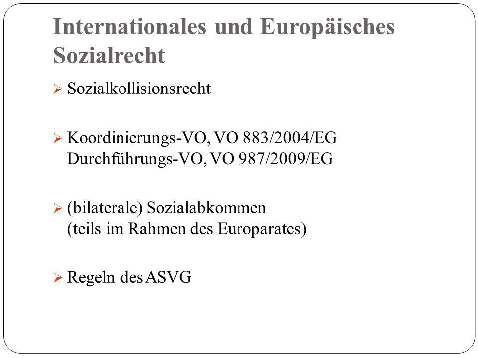 Internationales und Europäisches Sozialrecht  Sozialkollisionsrecht  Koordinierungs-VO, VO 883/2004/EG Durchführungs-VO, VO 987/2009/EG  (bilaterale) Sozialabkommen (teils im Rahmen des Europarates)  Regeln des ASVG
