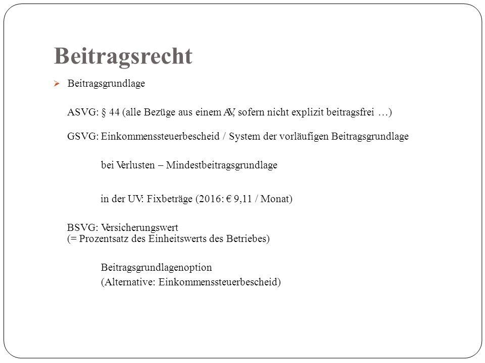 Beitragsrecht  Beitragsgrundlage ASVG: § 44 (alle Bezüge aus einem AV, sofern nicht explizit beitragsfrei …) GSVG: Einkommenssteuerbescheid / System der vorläufigen Beitragsgrundlage bei Verlusten – Mindestbeitragsgrundlage in der UV: Fixbeträge (2016: € 9,11 / Monat) BSVG: Versicherungswert (= Prozentsatz des Einheitswerts des Betriebes) Beitragsgrundlagenoption (Alternative: Einkommenssteuerbescheid)