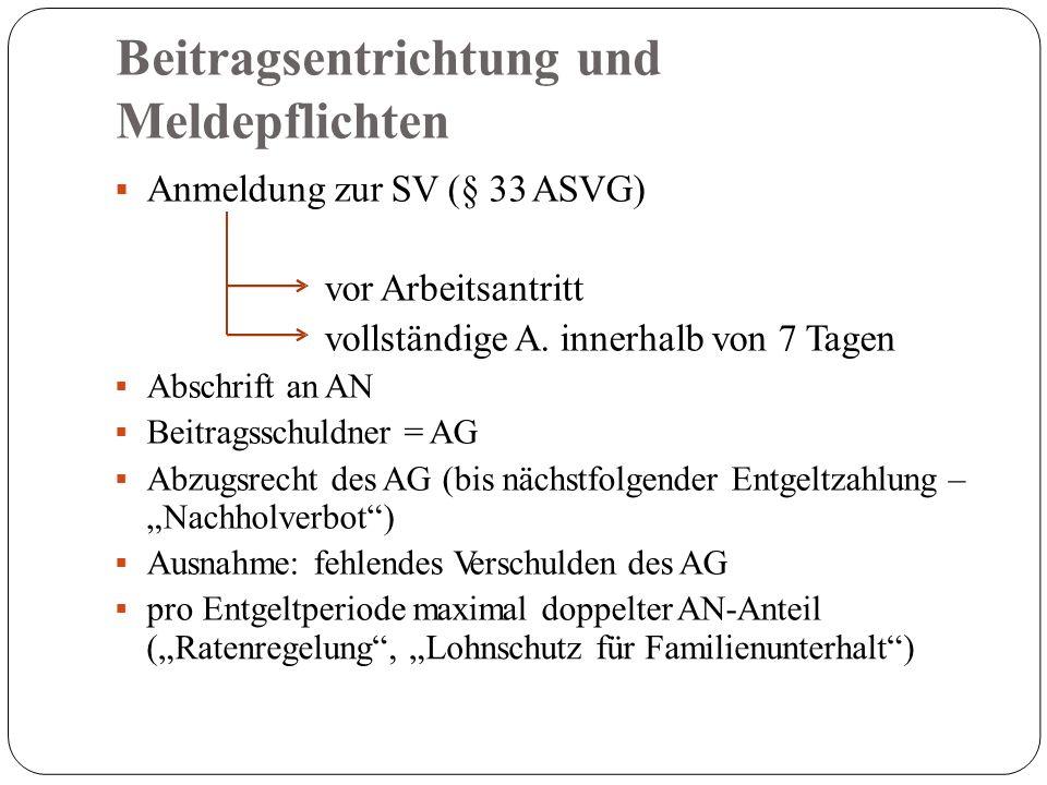 Beitragsentrichtung und Meldepflichten  Anmeldung zur SV (§ 33 ASVG) vor Arbeitsantritt vollständige A.