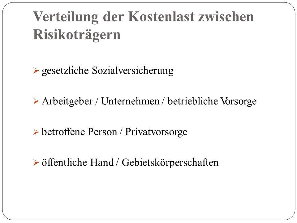 Verteilung der Kostenlast zwischen Risikoträgern  gesetzliche Sozialversicherung  Arbeitgeber / Unternehmen / betriebliche Vorsorge  betroffene Person / Privatvorsorge  öffentliche Hand / Gebietskörperschaften