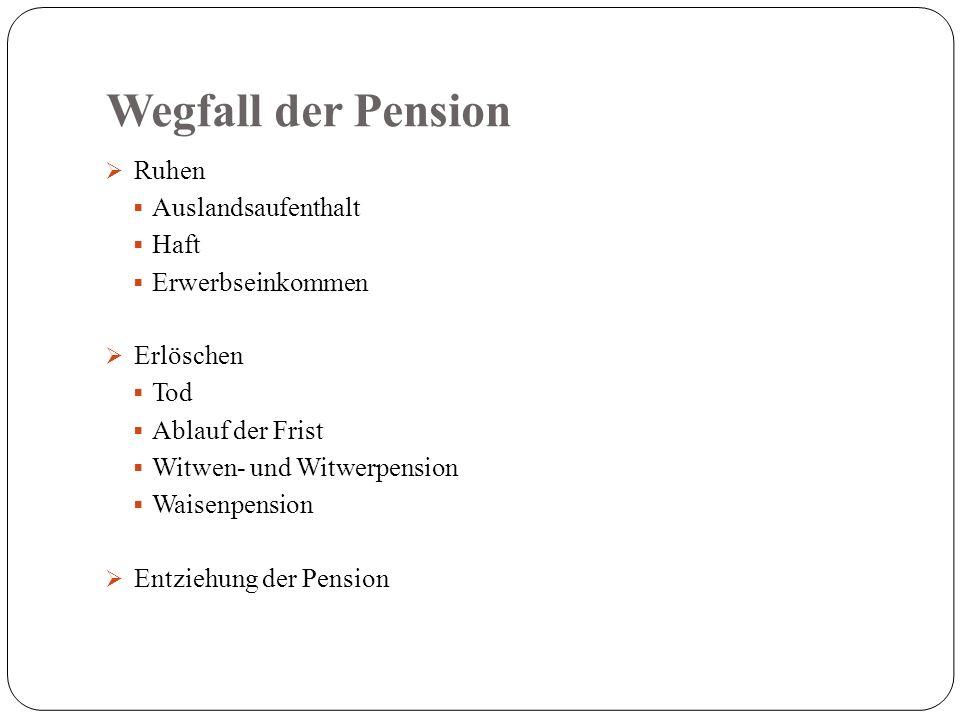 Wegfall der Pension  Ruhen  Auslandsaufenthalt  Haft  Erwerbseinkommen  Erlöschen  Tod  Ablauf der Frist  Witwen- und Witwerpension  Waisenpension  Entziehung der Pension